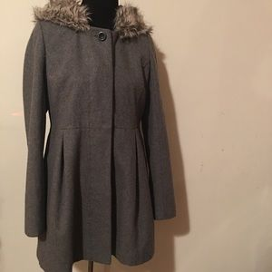 UO Cooperative wool a-line faux fur winter coat M